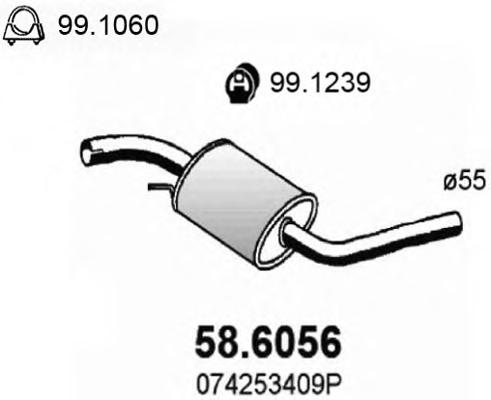 586056 ASSO Глуш.ср.ч. VOLKSWAGEN TRANSPORTE