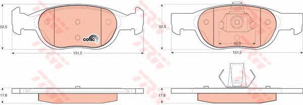 GDB1339 TRW/LUCAS Комплект тормозных колодок, дисковый тормоз