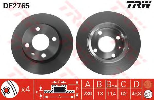 DF2765 TRW/LUCAS Тормозной диск