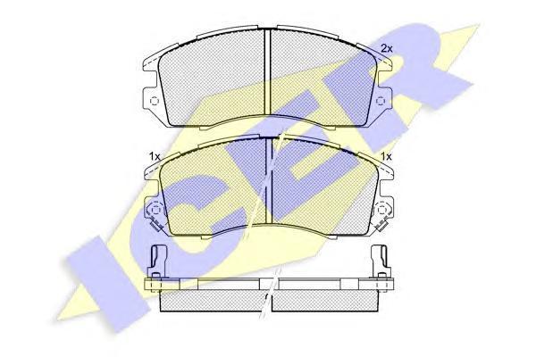 Комплект тормозных колодок, дисковый тормоз ICER 180998