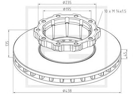 Тормозной диск PE AUTOMOTIVE 01628400A