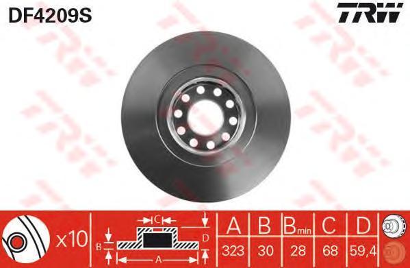 DF4209S TRW Тормозной диск