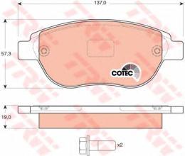 """Колодки тормозные дисковые, комплект """"COTEC TRW GDB1464"""