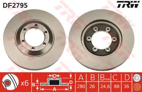 DF2795 TRW Тормозной диск