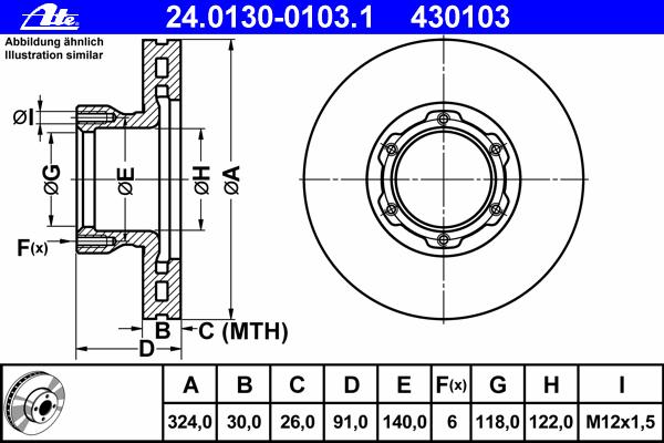Тормозной диск ATE 24013001031