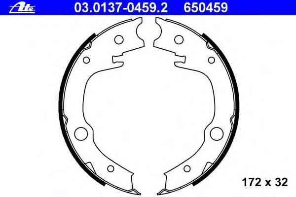 Комплект тормозных колодок, стояночная тормозная система ATE 03013704592