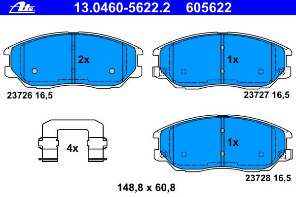 13046056222 ATE Комплект тормозных колодок, дисковый тормоз