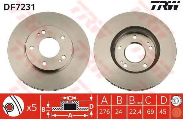DF7231 TRW Тормозной диск