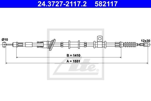 24372721172 ATE Трос, стояночная тормозная система