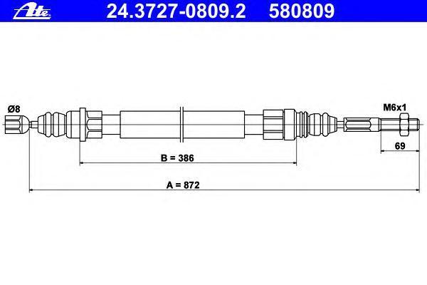 24372708092 ATE Трос, стояночная тормозная система
