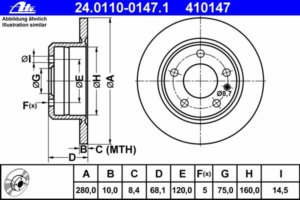 24011001471 ATE Тормозной диск