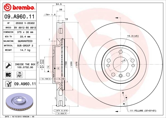 09A96011 BREMBO Тормозной диск
