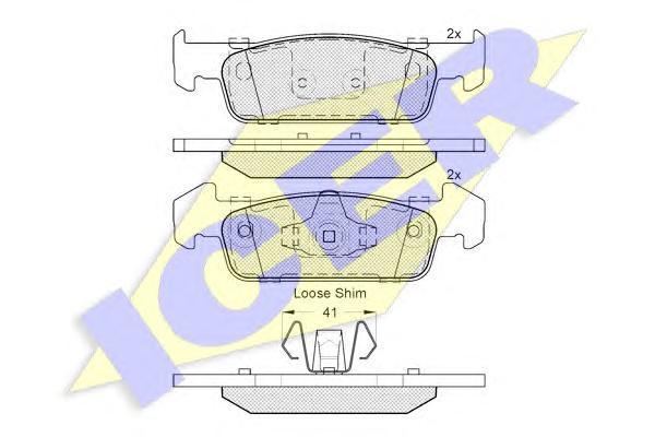 Комплект тормозных колодок ICER 182115202