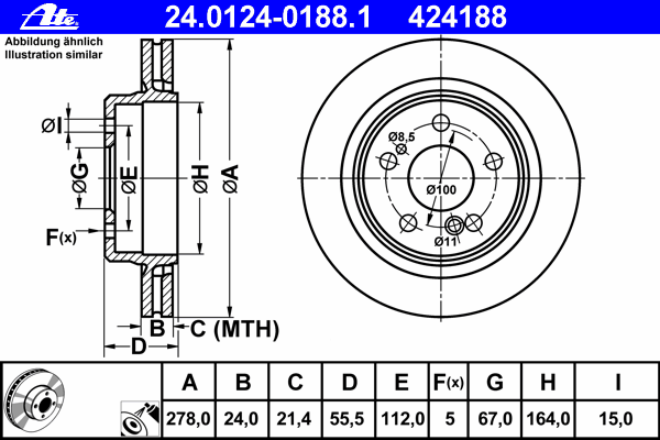 24012401881 ATE Тормозной диск