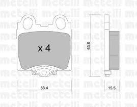 2207580 METELLI Комплект тормозных колодок, дисковый тормоз