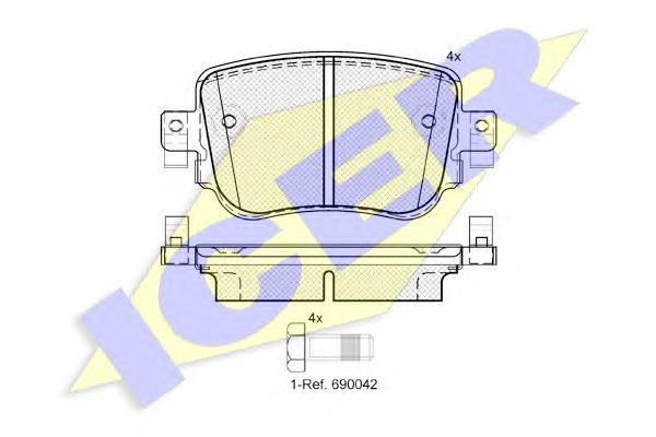 182152 ICER Комплект тормозных колодок