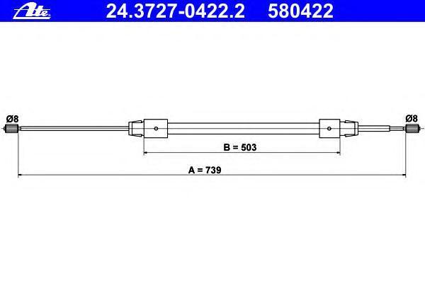Трос, стояночная тормозная система ATE 24372704222