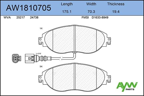 AW1810705 AYWIPARTS Колодки тормозные передние