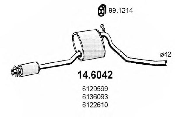 Средний глушитель выхлопных газов ASSO 146042
