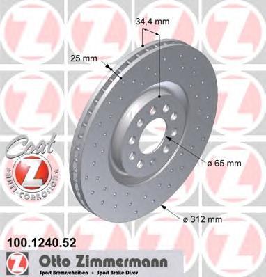 Тормозной диск ZIMMERMANN 100124052