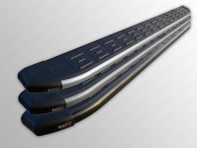 MITPASPOR1411GR ТСС Пороги алюминиевые с пластиковой накладкой (карбон серые) 1820 мм Mitsubishi Pajero Sport (2014-2016)