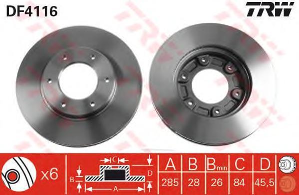 DF4116 TRW Тормозной диск