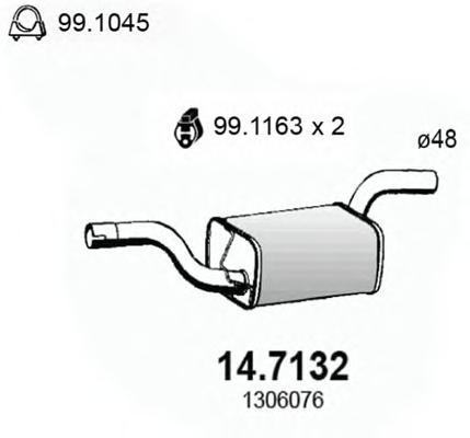 147132 ASSO Глушитель выхлопных газов конечный