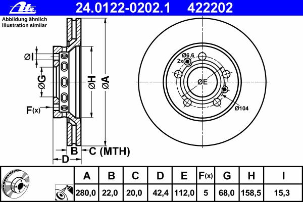 24012202021 ATE Диск тормозной вентилируемый