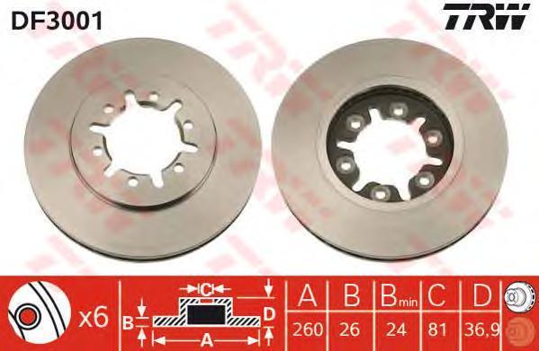 DF3001 TRW Тормозной диск