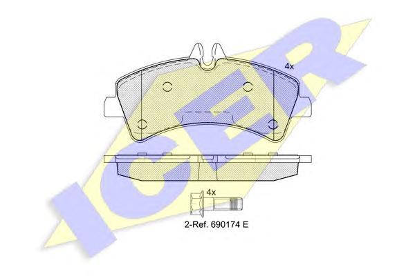 Комплект тормозных колодок, дисковый тормоз ICER 141849