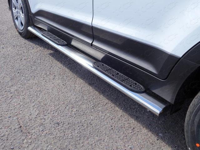 Пороги овальные с накладкой 120х60 мм Hyundai Creta (2016-) ТСС HYUNCRE1615