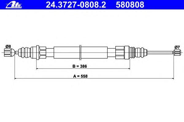 24372708082 ATE Трос, стояночная тормозная система