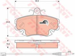 Комплект тормозных колодок, дисковый тормоз TRW GDB1465