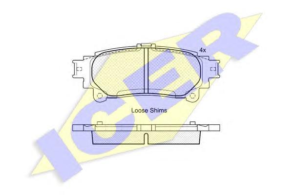 Комплект тормозных колодок, дисковый тормоз ICER 181983