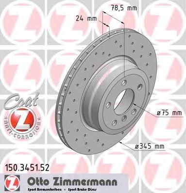 Диск тормозной вентилируемый, перфорированный ZIMMERMANN 150345152