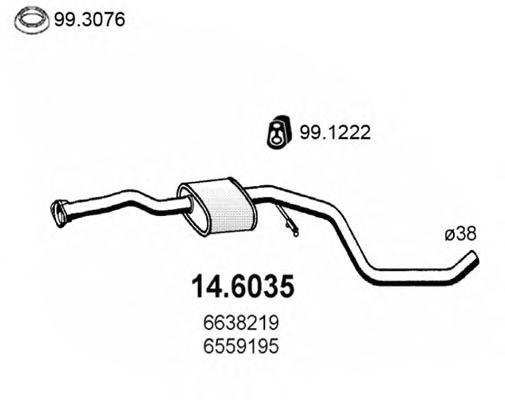 146035 ASSO Средний глушитель выхлопных газов