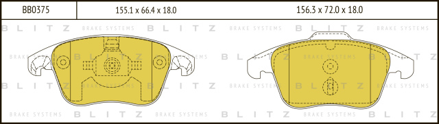 BB0375 BLITZ Колодки тормозные дисковые