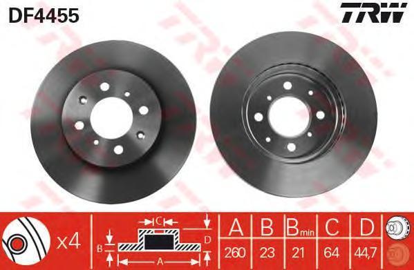 DF4455 TRW/LUCAS Тормозной диск