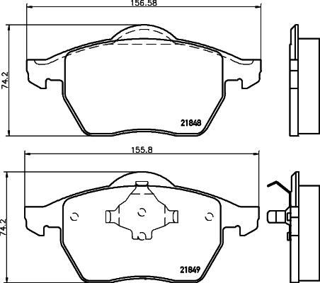 8DB355008001 HELLA Комплект тормозных колодок, дисковый тормоз