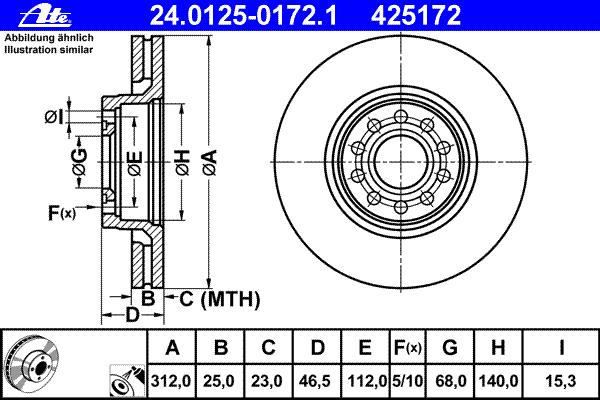 24012501721 ATE Тормозной диск