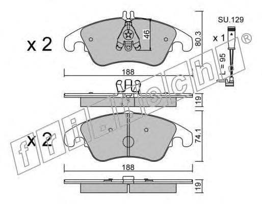 Комплект тормозных колодок, дисковый тормоз FRI.TECH. 7912W