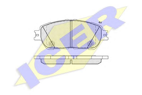 Комплект тормозных колодок, дисковый тормоз ICER 181690200