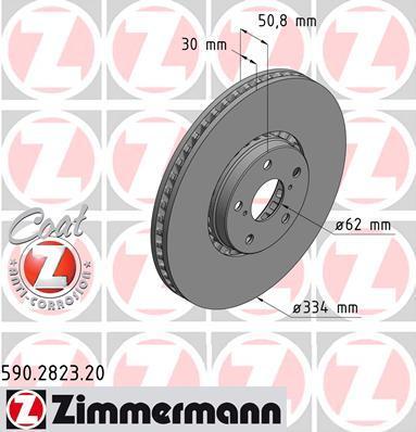 590282320 ZIMMERMANN Диск тормозной TOYOTALEXUS RECHTS Coat Z