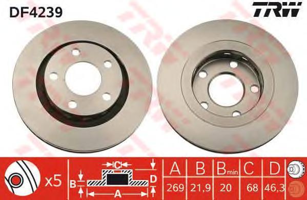 Тормозной диск TRW DF4239