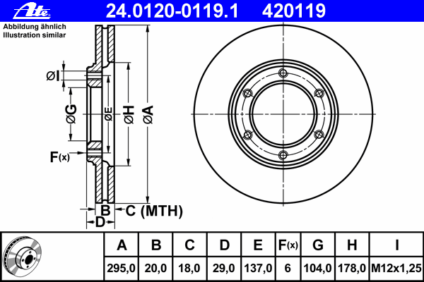 24012001191 ATE Тормозной диск