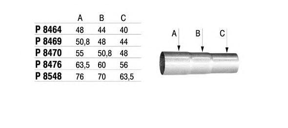 Труба выхлопного газа, универсальная FENNO P8464