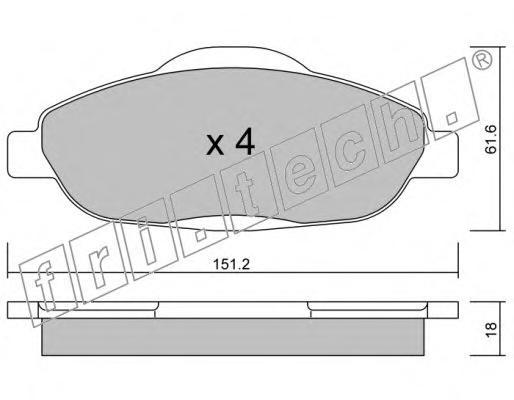 Комплект тормозных колодок, дисковый тормоз FRI.TECH. 8200