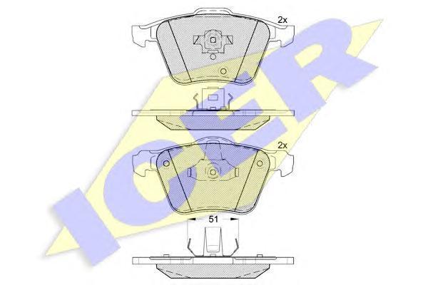 Колодки тормозные дисковые передние ICER 181655