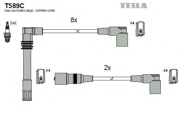 T589C TESLA Комплект проводов зажигания