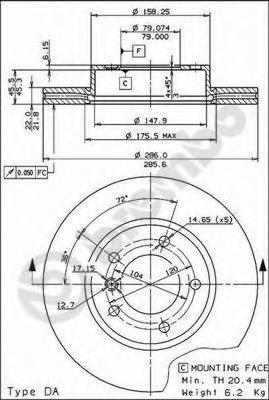 Тормозной диск BREMBO 09539034